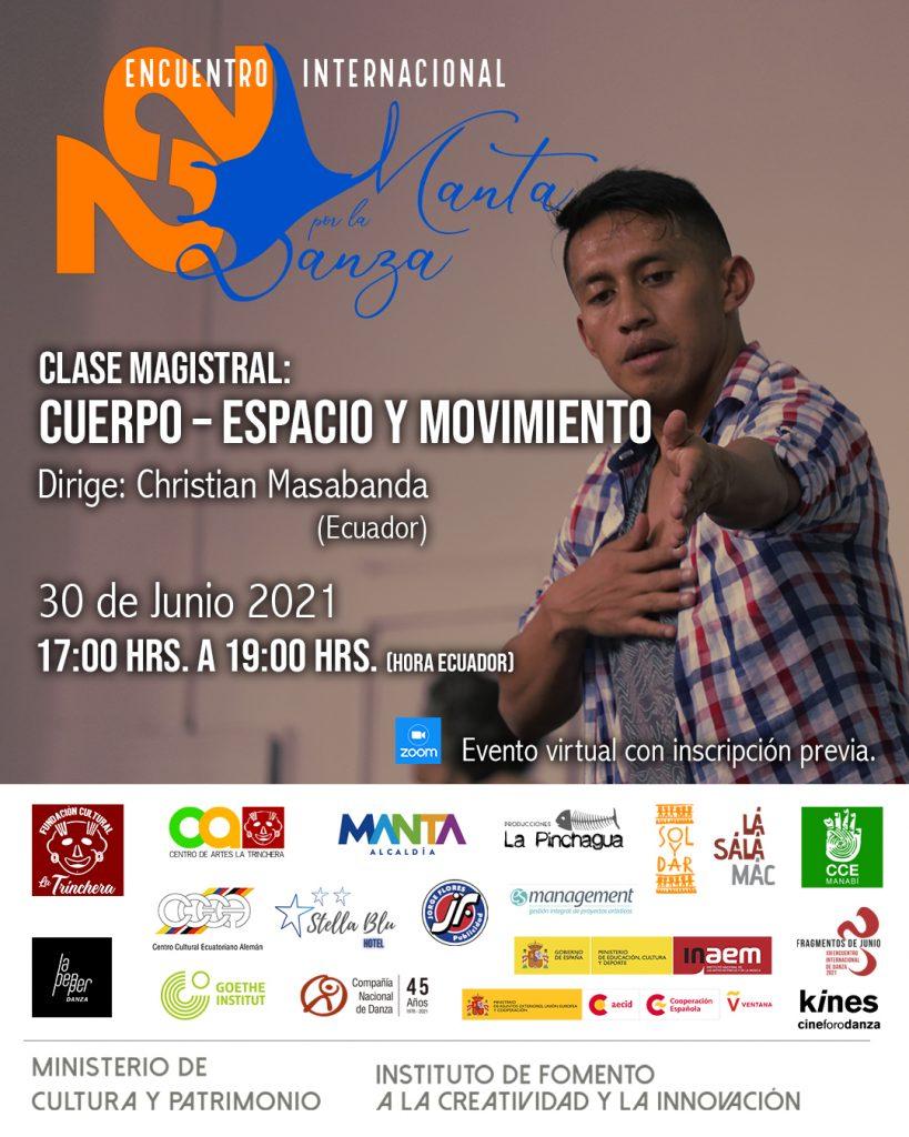 Clase Magistral:  Cuerpo – Espacio y Movimiento <br> Encuentro Internacional Manta por la Danza 2021